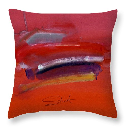 Fishing Boats Throw Pillow featuring the painting Red Trawler by Charles Stuart