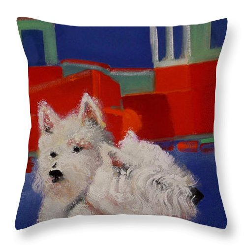 Seascapes Throw Pillow featuring the painting Red Trawlers by Charles Stuart