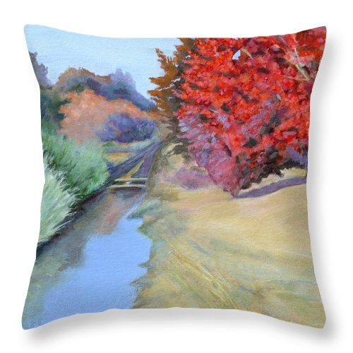 Landscape Throw Pillow featuring the painting Red Tree and River by Mary Chant