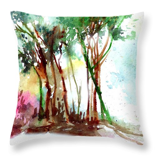 Landscape Throw Pillow featuring the painting Red Trees by Anil Nene