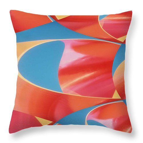 Tubes Throw Pillow featuring the digital art Red Tubes by Tim Allen