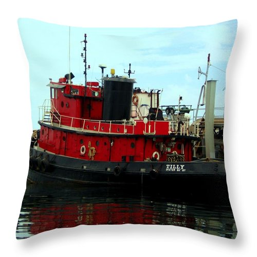 Seaside Throw Pillow featuring the photograph Red Tugboat by Christi Willard