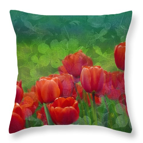 Tulips Throw Pillow featuring the mixed media Red Tulips by Georgiana Romanovna
