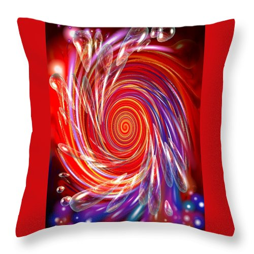 Red Throw Pillow featuring the digital art Red Twirl by Natalie Holland