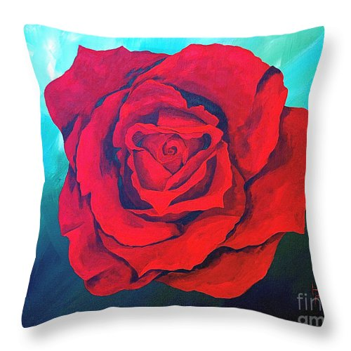 Red Rose Deep Red Rose 3d Ice Rose Throw Pillow featuring the painting Red Velvet by Herschel Fall