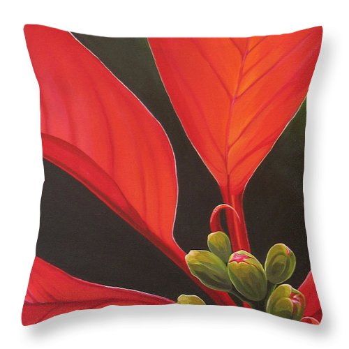 Poinsettia Closeup Throw Pillow featuring the painting Red Velvet by Hunter Jay