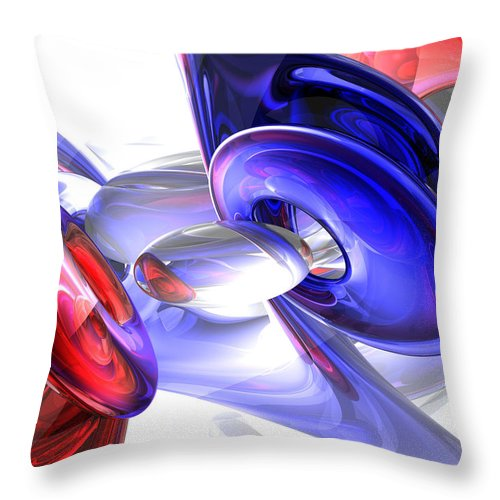 3d Throw Pillow featuring the digital art Red White And Blue Abstract by Alexander Butler