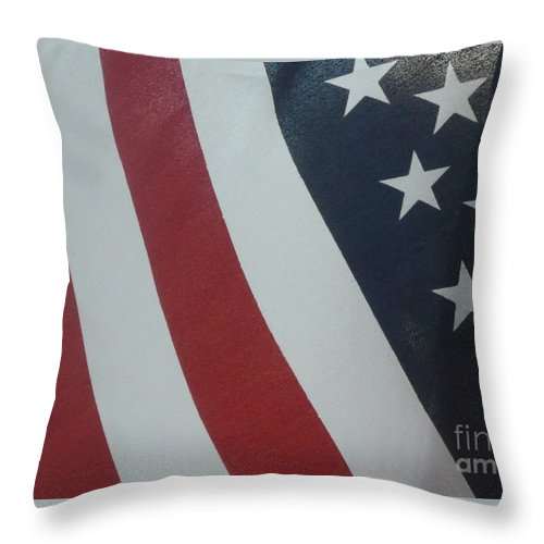 Flag Throw Pillow featuring the photograph Red White And Blue by Barb Montanye Meseroll