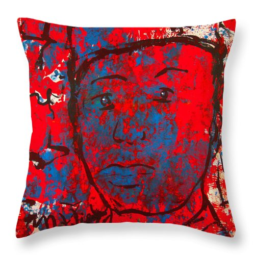 Man Throw Pillow featuring the painting Red White And Blue by Natalie Holland
