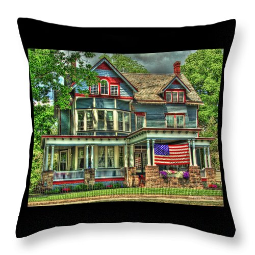 Red White And Blue Victorian Throw Pillow For Sale By Louise Reeves