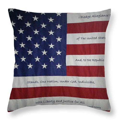 America Throw Pillow featuring the digital art Red White And True by DigiArt Diaries by Vicky B Fuller