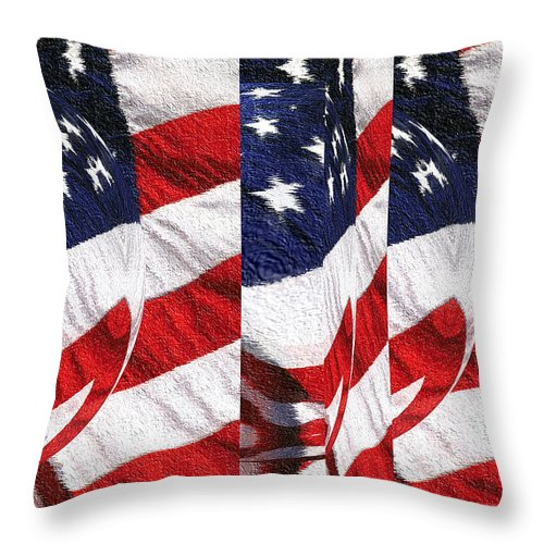 American+flag Throw Pillow featuring the tapestry - textile Red White Blue - American Stars And Stripes by Peter Potter