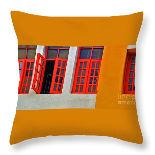 Windows Throw Pillow featuring the photograph Red Windows by Debbi Granruth