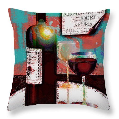 Wine Throw Pillow featuring the digital art Red Wine For Two by Arline Wagner