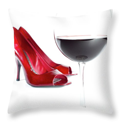 Red Wine Throw Pillow featuring the photograph Red Wine Glass Red Shoes by Dustin K Ryan