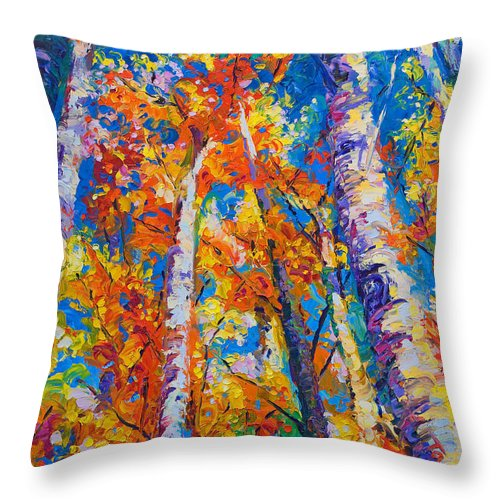 Impresssionist Throw Pillow featuring the painting Redemption - Fall Birch And Aspen by Talya Johnson