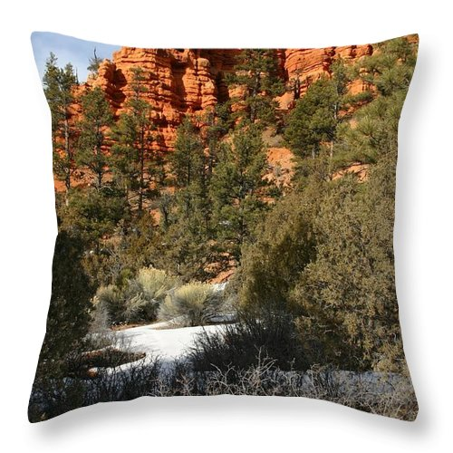 Red Rocks Throw Pillow featuring the photograph Redrock Winter by Nelson Strong