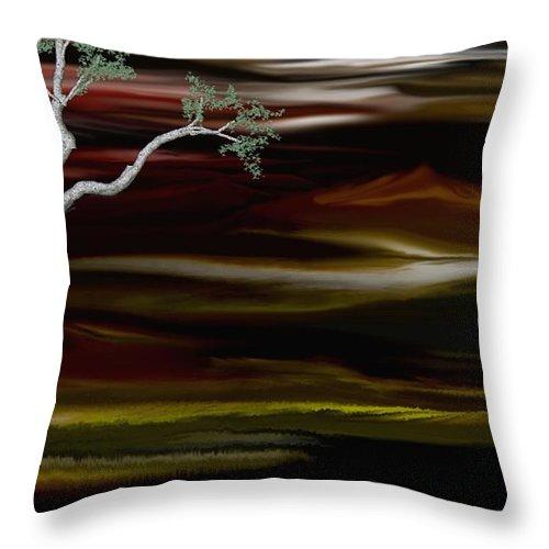Digital Landscape Throw Pillow featuring the digital art Redscape by David Lane