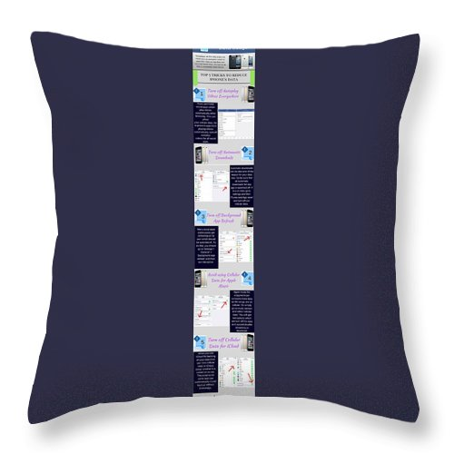 Reduce Iphone's Data Usage Throw Pillow featuring the photograph Reduce iPhone's Data Usage in iOS 10 by Henry Rice