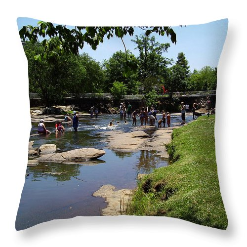 Reedy River Throw Pillow featuring the photograph Reedy River by Flavia Westerwelle