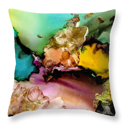 Reef Throw Pillow featuring the mixed media Reef 3 by Susan Kubes