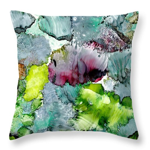 Reef Throw Pillow featuring the painting Reef 4 by Susan Kubes