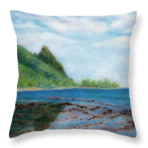 Rainbow Colors Pastel Throw Pillow featuring the painting Reef Walk by Kenneth Grzesik