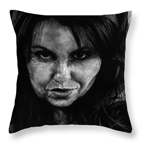 Portrait Girl Woman Sketch Drawing Charcoal Art Traditional Life Thought Smile Beautiful Expression Throw Pillow featuring the drawing Reel Romance by Priscilla Vogelbacher