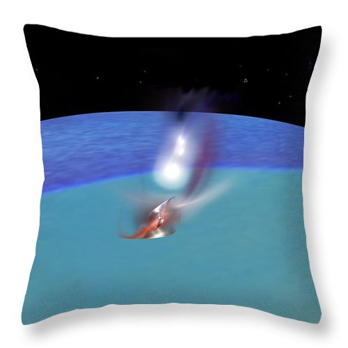 Abstract Digital Painting Throw Pillow featuring the digital art Reentry by David Lane