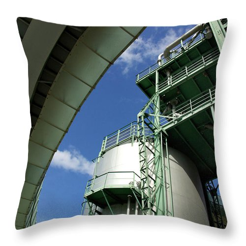 Building Throw Pillow featuring the photograph Refinery Detail by Carlos Caetano