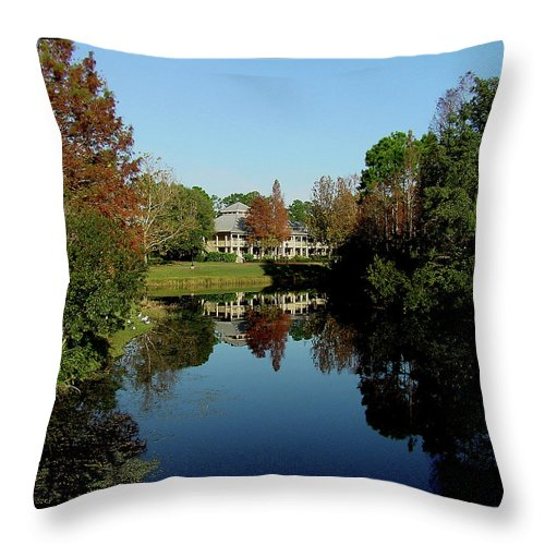 Mansion Throw Pillow featuring the photograph Reflected Elegance by Shirley Heyn