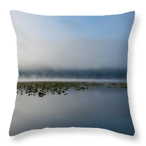 Fernan Lake Throw Pillow featuring the photograph Reflected Mists by Idaho Scenic Images Linda Lantzy