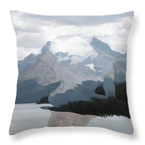 Mountain Forest Trees Woman Mirror Lake Water Scenery Digital Throw Pillow featuring the photograph Reflecting by Andrea Lawrence