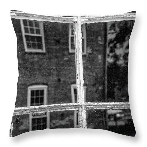 Monochrome Throw Pillow featuring the photograph Reflecting History by Mike Cox