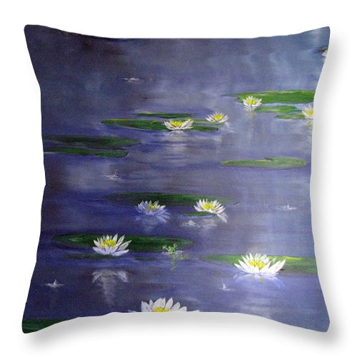 Pond Throw Pillow featuring the painting Reflecting Pond by Gary Smith