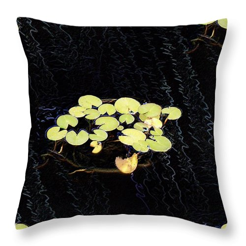 Lillies Throw Pillow featuring the digital art Reflecting Pool Lilies by Tim Allen