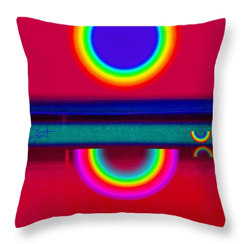 Reflections Throw Pillow featuring the painting Reflectins On A Sunset by Charles Stuart