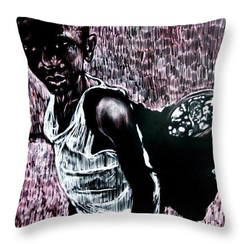 Portrait Throw Pillow featuring the mixed media Reflection by Chester Elmore
