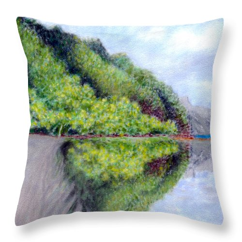 Coastal Decor Throw Pillow featuring the painting Reflection by Kenneth Grzesik