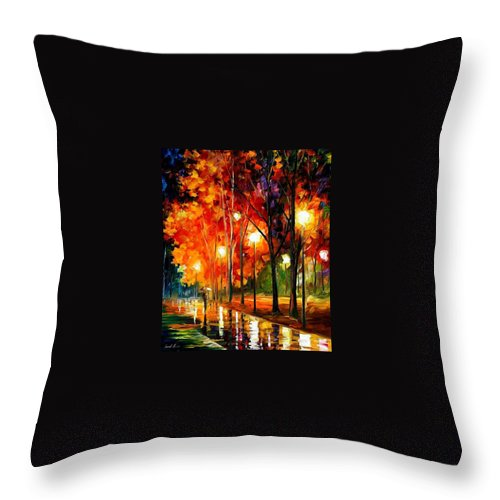 Landscape Throw Pillow featuring the painting Reflection Of The Night by Leonid Afremov