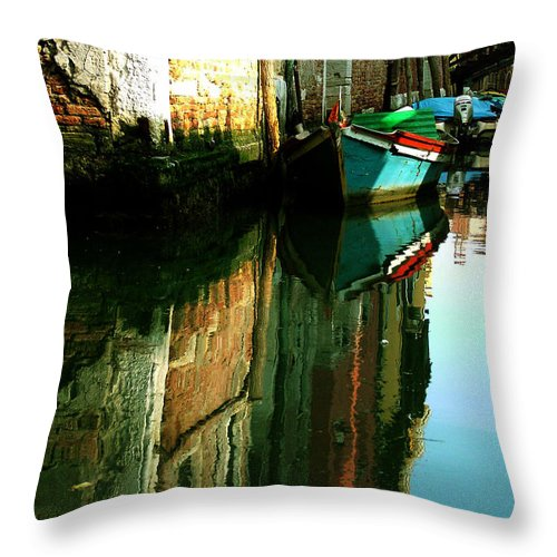 Venice Throw Pillow featuring the photograph Reflection Of The Wooden Boat by Donna Corless