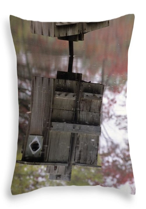 Wood Duck Throw Pillow featuring the photograph Reflection Of Wood Duck Box In Pond by Erin Paul Donovan