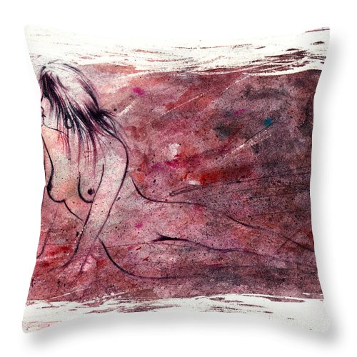 Nude Throw Pillow featuring the painting Reflection by Rachel Christine Nowicki