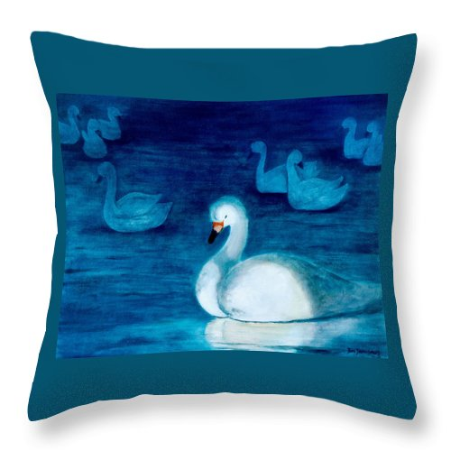 Duck Throw Pillow featuring the painting Reflections 1 by Jun Jamosmos