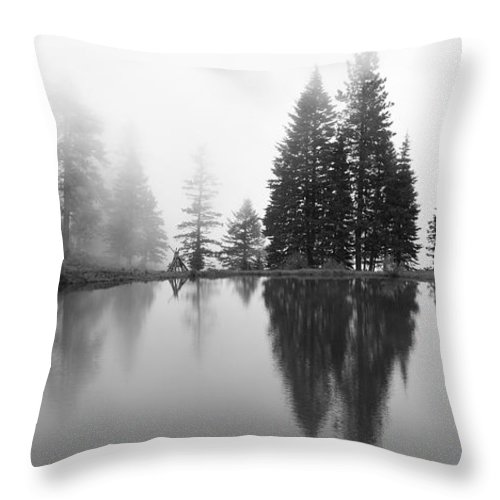 Black And White Throw Pillow featuring the photograph Reflections And Fog by Idaho Scenic Images Linda Lantzy