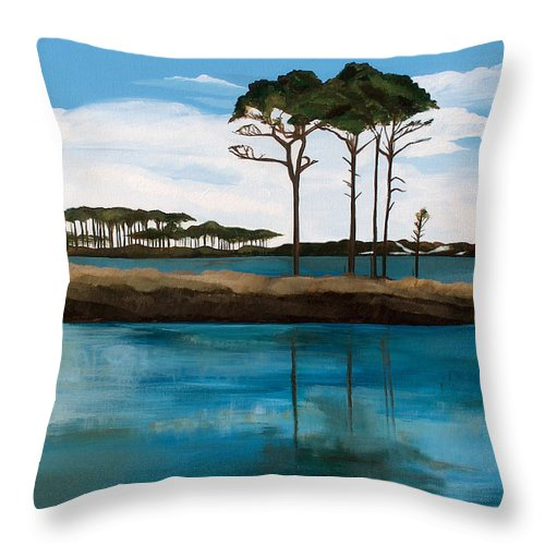 Beach Throw Pillow featuring the painting Reflections At Western Lake by Racquel Morgan