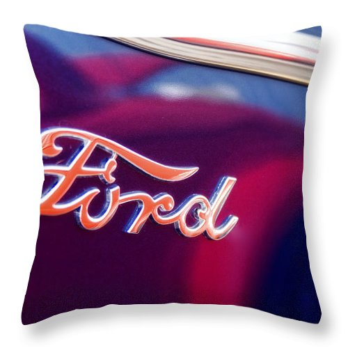 Ford Throw Pillow featuring the photograph Reflections In An Old Ford Automobile by Carol Leigh