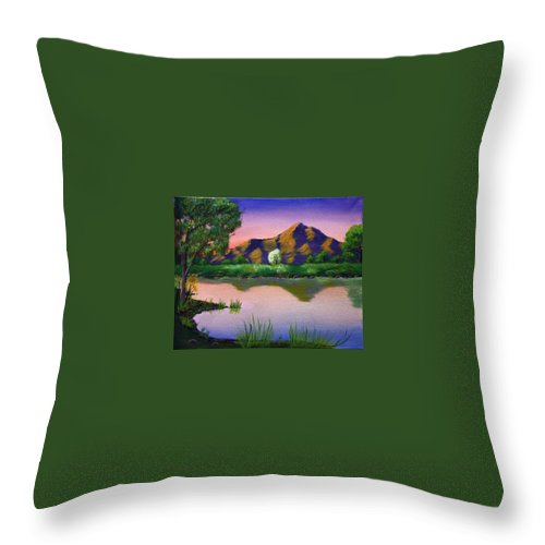 Landscape Throw Pillow featuring the painting Reflections In The Breeze by Dawn Blair