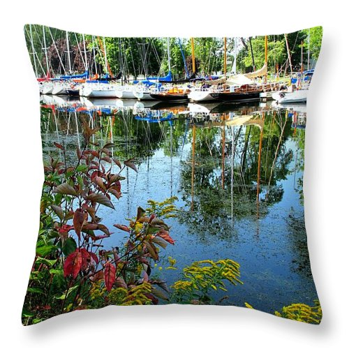 Flowers Throw Pillow featuring the photograph Reflections In The Pool by Ian MacDonald