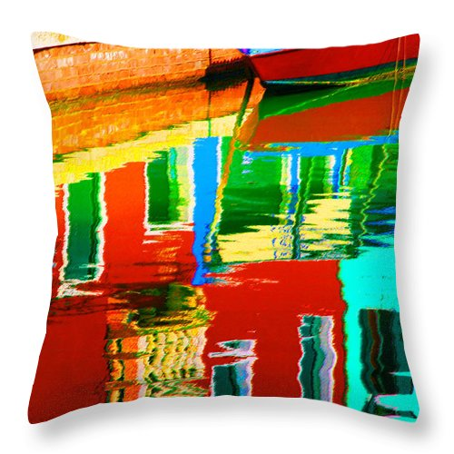 Abstract Throw Pillow featuring the pastel Reflections Near The Red Hull by Donna Corless